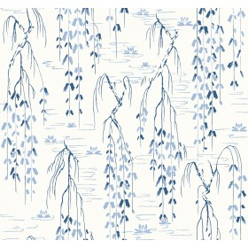AF6582 White, Blue Willow Branches Wallpaper