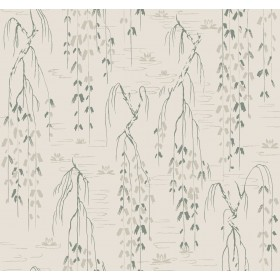 AF6583 Green Willow Branches Wallpaper