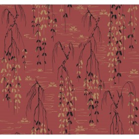 AF6585 Red, Black, Gold Willow Branches Wallpaper
