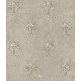 Tuscan Taupe Shimmering Ogee Wallpaper