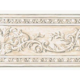 AZ5164BD Cream Taupe Arch Fan Architectural Molding Wallpaper Border