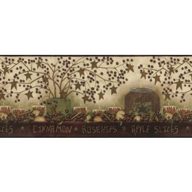 Danny Maroon Potpourri Trail Wallpaper Border