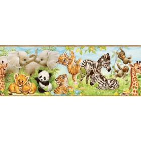 Deirdre Green Jungle Pals Portrait Wallpaper Border