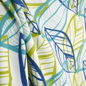 Belize Azure Leaf Skeleton Outdoor Fabric