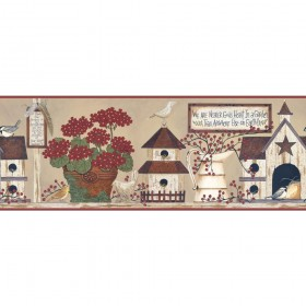 BG1605BD Burgundy Birdhouse & Berries Inspirational Garden Wallpaper Border