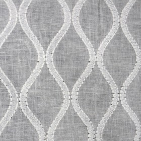 Brookside Cloud White Embroidered Sheer Fabric