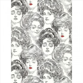 BV2419 SS2419 Pucker Up Butter Cup Black White Gibson Girl Toile Wallpaper