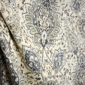 Cadogan Mica Dark Forest Paisley Damask on Cream Linen Fabric