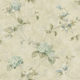 Magnolia Hydrangea Green Trail Wallpaper