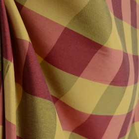 Red Gold 3 inch wide Check Drapery Fabric