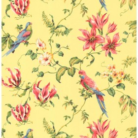 Casabella II Tropical Floral Gold, Pink, Red, Green Wallpaper