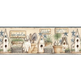 Harlow Blue Everything Grows With Love Wallpaper Border
