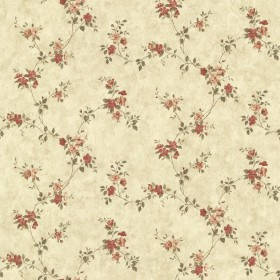 Rose Valley Red Floral Trail Wallpaper