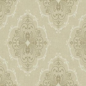 WALLPAPER BY THE YARD DD8397 Taupe Cream Monte Christo Damask with Glitter