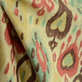 Southwest Ikat Blue Red Brown Natural Fabric