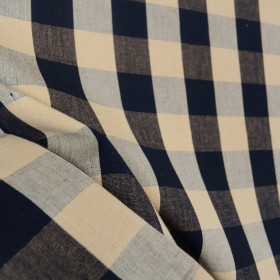 Lyme Black Natural Check Plaid Fabric