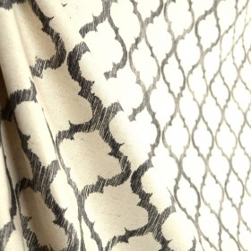 Enhance Greystone Trellis Grey Natural Linen Fabric