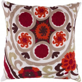 Sizzling Suzani Red, Brown, Tan Pillow | FF028-2222P