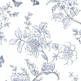 FH37539 Blue on White Butterfly Toile Wallpaper