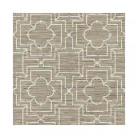 GE3661 Irongate Faux Grasscloth with Painted Geometric Trellis Wallpaper - Yard