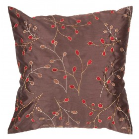 Fresh Floral Brown, Red Pillow | HH094-2222P