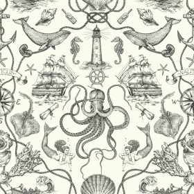 HO3360 Deep Sea Toile Wallpaper
