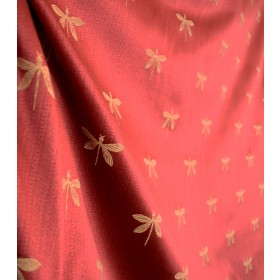 Imperial Dragonfly Maraschino Red Gold Fabric