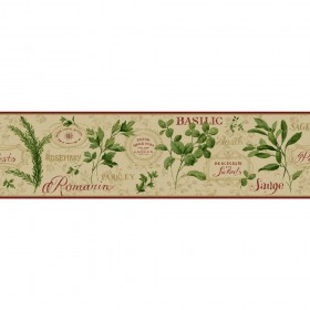 KH7038B Burgundy Green Aromatique Border