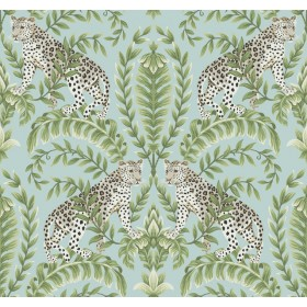 KT2204 Teal Jungle Leopard Wallpaper