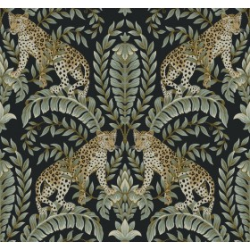 KT2205 Black/Green Jungle Leopard Wallpaper