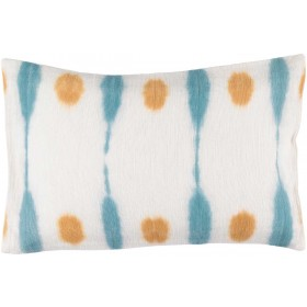 Kumo Pillow with Down Fill in Ivory, Burnt Orange, Sky Blue