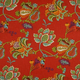 Leopold Persimmon Jacobean Floral Fabric