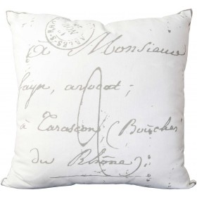 Classical French Script Tan, Grey Pillow