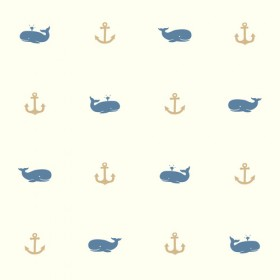 Young At Heart Whale Of A Tale Blue Brown Wallpaper
