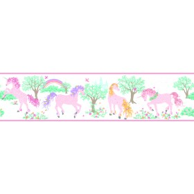 Young At Heart Magic Unicorn Pink Purple Green Yellow Border