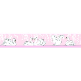 Young At Heart Swimming Swans Pink Border