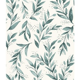 ME1536 Teal Green Watercolor Olive Branch Joanna Gains Magnolia Home Wallpaper