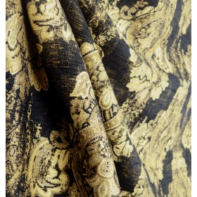 Mercola Black Chenille Damask Upholstery Fabric