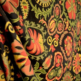 Molina Black Red-Orange Gold Green Suzani Floral Upholstery Fabric