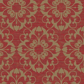 NA0211 Metallic Gold on Red Marcella Medallion Suzani Wallpaper - Yard
