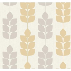 Candice Olson Inspired Elegance Modern Petals White, Grey, Yellow, Metallic Wallpaper