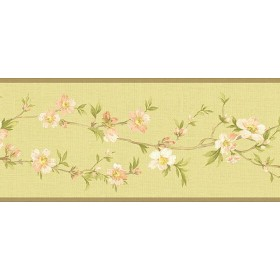 NL57032B Cherry Blossom Orchard Floral Oriental Wallpaper Border