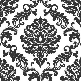 NU1646 Ariel Black and White Damask Peel and Stick Wallpaper