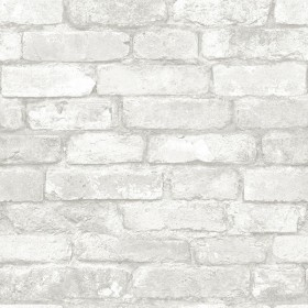 NU1653 Light Grey and White Brick Peel & Stick Wallpaper