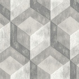 NU2085 Bauhaus Weathered Wood Grey Geometric Peel and Stick Wallpaper
