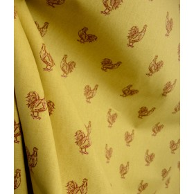 Pecking Order Spice Rooster Cotton Drapery Fabric