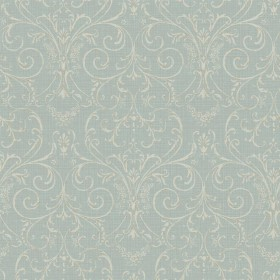 PN0418 Delicate Cream Scroll Damask on Robins Egg Blue Faux Linen Texture Wallpaper