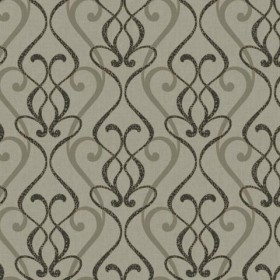 RC3709 Black and Taupe Leopard Scroll Contemporary Damask Wallpaper - Yard