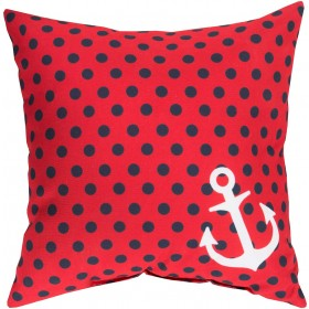 Anchored in Polka Dots Red, Blue, Tan Pillow | RG126-2626
