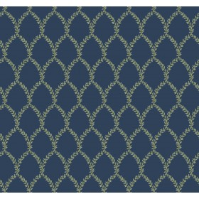 RI5179 Navy Laurel Wallpaper